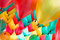 Colorful balloons with happy celebration party