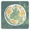 Stock Image : Earth hand drawn symbol grunge icon