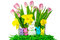 Stock Image : Easter bunnies with spring flowers