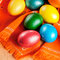 Stock Image : Easter eggs on the napkin