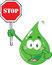 Stock Image : Eco Green Drop Character Holding A Stop Sign