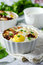 Stock Image : Eggs baked with meat