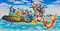 Stock Image : Eight immorals crossing the sea painting