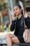 Stock Image : Elegant woman talking on smart phone