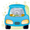 Stock Image : Elephant in a car