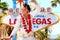 Stock Image : Elvis look-alike impersonator and Las Vegas sign