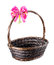 Stock Image : Empty wicker basket with red bow.