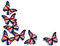 Stock Image : English flag butterflies on white