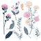 Stock Image :  Ensembles de carte de voeux florale d'été avec les fleurs douces de floraison