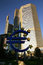 Stock Image : Euro symbol in Frankfurt among skyscrapers