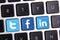 Stock Image : Facebook Twitter and Linkedin keyboard