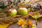 Stock Image : Fall background with apples