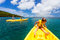 Stock Image : Family kayaking at tropical ocean