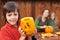 Stock Image : Family preparing for Halloween