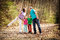Stock Image : Family walking in forest