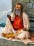 Stock Image : Famous painted sadhu