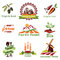 Stock Image : Farm, agriculture icons, labels collection