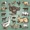 Stock Image : Farm animals vintage set (vector)