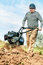 Stock Image : Farmer plowing the field.