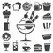 Stock Image : Fast food and dessert icon set.