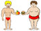 Stock Image : Fat and a fit man and their diet