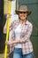 Stock Image : Female farmer pitch fork
