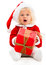 Stock Image : Female Santa with a gift
