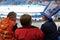 Stock Image : Female spectators at speed skating short-trek stadium
