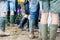 Stock Image : Festival goers don their wellies for Glastonbury festival 2014