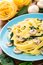 Stock Image : Fettuccine with spinach and mushrooms