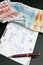 Stock Image : Financial calculations and euro money