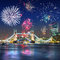 Fireworks display over the Tower Bridge in London UK