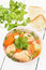 Stock Image : Fish soup with salmon in bowl