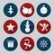 Stock Image : Flat christmas icon set