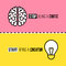 Stock Image : Flat line icons of brain and light bulb. Critic vs