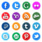 Stock Image : Flat Round Social Media Icons