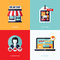 Stock Image : Flat vector design with e-commerce and online shopping icons