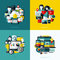 Stock Image : Flat vector icons set of cloud storage, social media, SEO