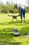 Stock Image : Flight enthusiasts debugging UAV Octocopter in Park