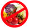 Stock Image : Food prohibited for import into the country. The round frame made of vegetables. Isolated.