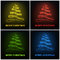 Stock Image : Four colored abstract christmas tree glowing bow design