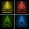 Stock Image : Four colored abstract christmas tree glowing lines design