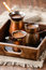 Stock Image : Fresh black coffee in pots