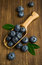 Stock Image : Fresh blueberries in a wooden scoop