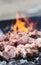 Stock Image : Fresh meat on a steel skewer
