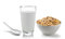 Stock Image : Fresh milk in the glass and muesli breakfast placed on white bac