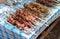 Stock Image : Fresh portion of shish kebab on table outdoor