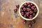 Stock Image : Fresh red cherries in bowl