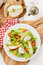 Stock Image : Fresh salad with red and yellow tomatoes, mozzarella and pear