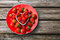 Stock Image : Fresh strawberries on old wooden background,